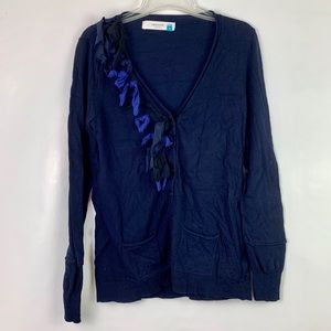 Sparrow Blue Cashmere Button Down Cardigan Sweater